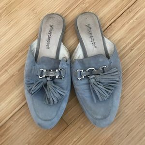 Jeffrey Campbell blue suede mule with fringe